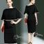 พร้อมส่ง Mini dress สีดำทรงแขนค้างคาว thumbnail 3
