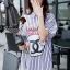 พร้อมส่ง Stripy CC Red dot Bow Print Dress Shirt เดรสเกาหลี thumbnail 5