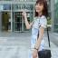 แม็กซี่เดรสเกาหลี คอวี แขนสั้น พร้อมส่ง thumbnail 1