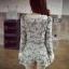 พร้อมส่ง เสื้อกางเกงลายยกดอกเดซี่สีขาวตัดกับสีเทา thumbnail 5