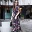 ชุดเดรสเกาหลี พร้อมส่ง Maxi Dress ผ้าชีฟอง ลายดอก thumbnail 3