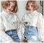 เสื้อเกาหลี ผ้าลูกไม้ลายซิกแซก พร้อมส่ง thumbnail 1