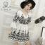 พร้อมส่ง Mini Dress ผ้าฝ้าย ปักลายดอกเชิงลาย thumbnail 2
