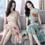 เดรสเกาหลี พร้อมส่ง ชุดเดรสผ้าชีฟอง ลายดอกไม้ thumbnail 11