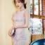 เดรสเกาหลี พร้อมส่ง มินิเดรส ผ้าตาข่ายซีทรู ปักดอกไม้ thumbnail 4