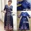ชุดเดรสเกาหลี พร้อมส่ง เดรสยาว ผ้าเครปสีกรมท่า ปักลายดอกไม้ thumbnail 12