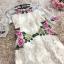 พร้อมส่ง เดรสผ้าลูกไม้ปักลายดอกไม้สีครีม thumbnail 6