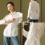 เสื้อเกาหลี พร้อมส่ง เสื้อแต่งผูกเชือกข้าง thumbnail 1
