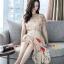 เดรสเกาหลี พร้อมส่ง ชุดเดรสผ้าชีฟอง ลายดอกไม้ thumbnail 6