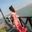 ชุดเดรสเกาหลี พร้อมส่ง Maxi Dress เดรสยาว ลายดอกไม้สีชมพู thumbnail 7