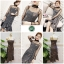 เดรสเกาหลี พร้อมส่ง Maxi Dress เดรสเกาหลี ลายตารางเล็ก thumbnail 2