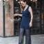 เสื้อผ้าเกาหลี พร้อมส่ง จั๊มสูท ลูกไม้สีกรมแขนกุด thumbnail 3