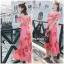 ชุดเดรสเกาหลี พร้อมส่ง Maxi Dress เดรสยาว ลายดอกไม้สีชมพู thumbnail 1