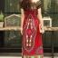 ชุดเดรสเกาหลี พร้อมส่ง Dress ผ้าฝ้ายผสมลินิน พิมพ์ลาย thumbnail 5