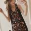 พร้อมส่ง mini dress สีดำแขนกุด ปักดอกไม้ thumbnail 2
