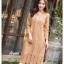 ชุดเดรสเกาหลี พร้อมส่ง Dress ลูกไม้ ลายทางฉลุ thumbnail 1