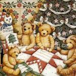 0009 กระดาษสาพิมพ์ลาย สำหรับทำงาน เดคูพาจ Decoupage แนวภาพ หมี Teddy ล้อมวงใต้ต้นคริสมาสต์ A5