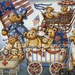 0007 กระดาษสาพิมพ์ลาย สำหรับทำงาน เดคูพาจ Decoupage แนวภาพ หมี Teddy รถเข็นเด็ก A5