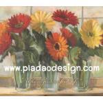 กระดาษสาพิมพ์ลาย สำหรับทำงาน เดคูพาจ Decoupage แนวภาำพ บ้านและสวน ดอกเยียบีร่า 3สี แดง ส้มเหลือง ปักในแจกันแก้วใส เป็นภาพแนวภาพวาด (ปลาดาวดีไซน์) A5