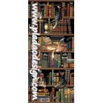 กระดาษสาพิมพ์ลาย สำหรับทำงาน เดคูพาจ Decoupage แนวภาำพ แมว 3ตัว 3 ลาย นอนกันสบาย บนชั้นหนังสือ ในห้องสมุด (ปลาดาวดีไซน์) A5