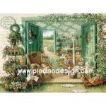 กระดาษสาพิมพ์ลาย สำหรับทำงาน เดคูพาจ Decoupage แนวภาพ green of paradise เก้าอี้หวาย ในห้องเพาะชำดอกไม้สวยสด A5