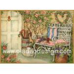 กระดาษอาร์ตพิมพ์ลาย สำหรับทำงาน เดคูพาจ Decoupage แนวภาำพ บ้านและสวน เก้าอี้เหล็กสีขาวมีหมอนอิงสีสวยหวาน วางตั้งอยู่หน้าบ้านไว้ชมสวนสวย (ปลาดาวดีไซน์) A5