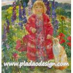 กระดาษสาพิมพ์ลาย สำหรับทำงาน เดคูพาจ Decoupage แนวภาำพ ภาพวาด สาวผมบลอนด์ในชุดแดงสดใสเจิดจ้า อยู่ในสวนดอกไม้กับแมวตัวสูง A5