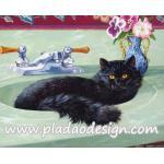 กระดาษสาพิมพ์ลาย สำหรับทำงาน เดคูพาจ Decoupage แนวภาำพ เจ้าแมวน้อยตัวดำนอนสบายๆอยู่บนอ่างล้างหน้าหินอ่อนสีเชียว A5