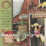 กระดาษอาร์ตพิมพ์ลาย สำหรับทำงาน เดคูพาจ Decoupage แนวภาพ วัวจิ๊กโก๋อยู่ในฟาร์ม มีถังไม้ใส่นม ถังไม้ใส่ผลไม้ (ปลาดาวดีไซน์) A5