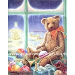 กระดาษสาพิมพ์ลาย สำหรับทำงาน เดคูพาจ Decoupage แนวภาพ พี่หมีสุดหล่อเป่าแตร เล่นดนตรี ในงานคริสมาสต์ปาร์ตี้ A5
