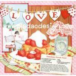 กระดาษสาพิมพ์ลาย สำหรับทำงาน เดคูพาจ Decoupage แนวภาำพ cooking kitchen วันนี้จัดทำ Strawberry french toast ลูกสตอร์เบอร์รี่สวยๆ (ปลาดาวดีไซน์) A5
