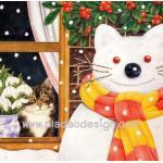 กระดาษสาพิมพ์ลาย สำหรับทำงาน เดคูพาจ Decoupage แนวภาพ แมวน้อยในบ้านแอบมองตุ๊กตาหิมะแมวใหญ่นอกบ้าน A5