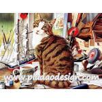 กระดาษสาพิมพ์ลาย สำหรับทำงาน เดคูพาจ Decoupage แนวภาำพ เจ้าแมว3สี นั่งเฝ้าเจ้าของทำงานประดิษฐ์ ชิ้นงานเก๋ๆ A5