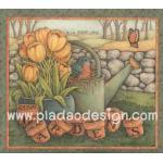 กระดาษสาพิมพ์ลาย สำหรับทำงาน เดคูพาจ Decoupage แนวภาำพ garden นกน้อยตัวอ้วนนั่งอยู่ในฝักบัวรดน้ำสังกะสี ข้างๆกระถางดอกทิวลิปสีเหลือง (ปลาดาวดีไซน์) A5