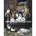 กระดาษสาพิมพ์ลาย สำหรับทำงาน เดคูพาจ Decoupage แนวภาพ แมวหมู่มารวมตัวกันนั่งบนเก้าอี้อาร์มแชร์ในห้องสมุดของเจ้านาย A5