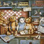 0011 กระดาษสาพิมพ์ลาย สำหรับทำงาน เดคูพาจ Decoupage แนวภาพ หมี Teddy กับเพื่อนตุ๊กตา A5