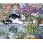 กระดาษสาพิมพ์ลาย สำหรับทำงาน เดคูพาจ Decoupage แนวภาพ แมวดำขาว นอนพักเหนื่อยใต้จต้นไม้ในกระถางสีม่วง A5