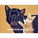 กระดาษสาพิมพ์ลาย สำหรับทำงาน เดคูพาจ Decoupage แนวภาพ พี่หมาดำ ตัวโตตาเล็ก น้องแมวลายเสือตัวเล็ก ตาโต A5