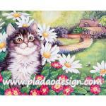 กระดาษสาพิมพ์ลาย สำหรับทำงาน เดคูพาจ Decoupage แนวภาำพ แมวขนฟูไปทั้งตัวทำหน้าแป้นแล้น อยู่ในสวนหน้าบ้าน A5