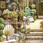 กระดาษสาพิมพ์ลาย สำหรับทำงาน เดคูพาจ Decoupage แนวภาพ เก้าอี้ในสวนหน้าบ้าน ภาพแนวนอน A5