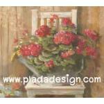 กระดาษสาพิมพ์ลาย สำหรับทำงาน เดคูพาจ Decoupage แนวภาำพ บ้านและสวน ดอกไม้หวานๆ สีแดงสด ปลูกไว้ในบัวรดน้ำสังกะสี วางอยู่บนเก้าอี้ไม้ สไตล์ภาพวาดฟุ้งๆ สวยมาก (ปลาดาวดีไซน์) A5