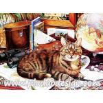 กระดาษสาพิมพ์ลาย สำหรับทำงาน เดคูพาจ Decoupage แนวภาำพ น้องแมวสีสวย นอนคอยบทสรุปของเจ้านายนักเดินทางว่าจะพาไปเที่ยวไหน A5