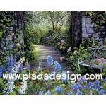 กระดาษสาพิมพ์ลาย สำหรับทำงาน เดคูพาจ Decoupage แนวภาำพ บ้านและสวน มองทะลุซุ้มหินโค้ง เป็นทางเดินลงเขาแบบป่าต้นไม้ (ปลาดาวดีไซน์) A5