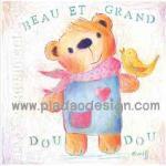 กระดาษสาพิมพ์ลาย สำหรับทำงาน เดคูพาจ Decoupage แนวภาพ น้องหมีมาในชุดยีนส์หวานๆผูกผ้าพันคอสีชมพูมีนกเกาะ A5