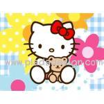 กระดาษสาพิมพ์ลาย สำหรับทำงาน เดคูพาจ Decoupage แนวภาำพ hello kitty อุ้มหมี เท็ดดี้ แบร์ มีฉากหลังเป็นดอกไม้ดอกใหญ่สีสด สวยมาก ออกโทนสีฟ้า (ปลาดาวดีไซน์) A5