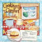 กระดาษสาพิมพ์ลาย สำหรับทำงาน เดคูพาจ Decoupage แนวภาำพ cooking up comfort เข้าครัวหรรษา ทำ BBQ sloppy (ปลาดาวดีไซน์) A5