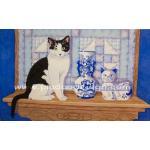 กระดาษสาพิมพ์ลาย สำหรับทำงาน เดคูพาจ Decoupage แนวภาพ ใครสวยกว่ากันจ๊ะ ระหว่างน้องแมวตัวจริง กับน้องแมวกระเบื้องเคลือบ A5