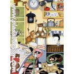 กระดาษสาพิมพ์ลาย สำหรับทำงาน เดคูพาจ Decoupage แนวภาำพ การ์ตูน แบบหมาๆ แมวๆ ทำกิจกรรมกันวุ่นวายในห้องทานข้าว A5