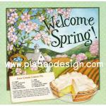 กระดาษสาพิมพ์ลาย สำหรับทำงาน เดคูพาจ Decoupage แนวภาำพ Welcome Spring ฉากหลังเป็นบ้านในฤดูใบไม้ผลิ กับสูตรทำขนม Lemon pie สีหวานๆ (ปลาดาวดีไซน์) A5