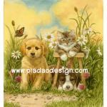 กระดาษสาพิมพ์ลาย สำหรับทำงาน เดคูพาจ Decoupage แนวภาพ 2 หมา 1 แมว ทำหน้านิ่งถ่ายรูปในดงหญ้า A5